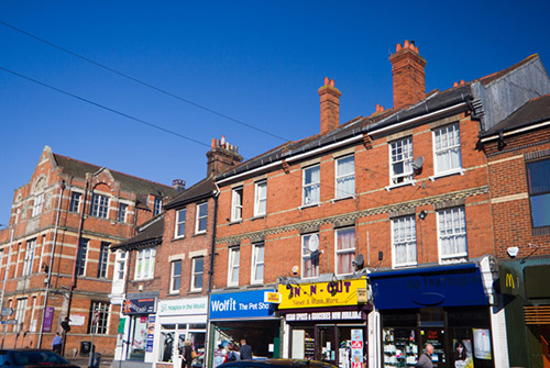 view of high street shops